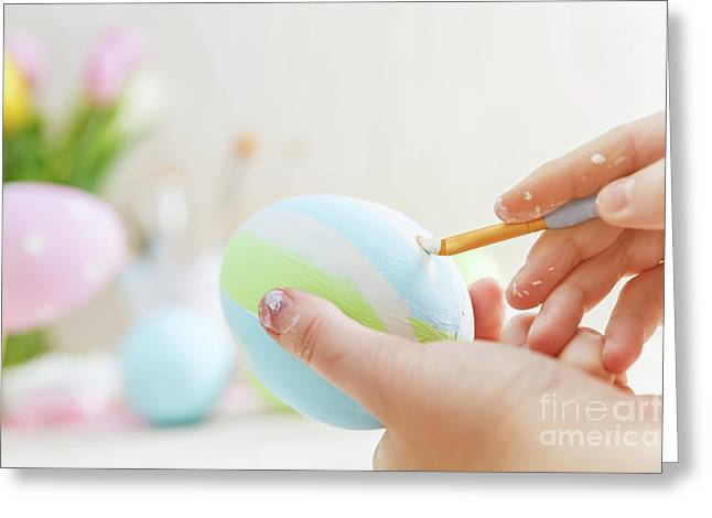 Easter Eggs Handicrafted With Pastel Stripes. Greeting Card