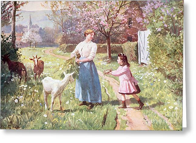 Country Church Greeting Cards - Easter Eggs in the Country Greeting Card by Victor Gabriel Gilbert