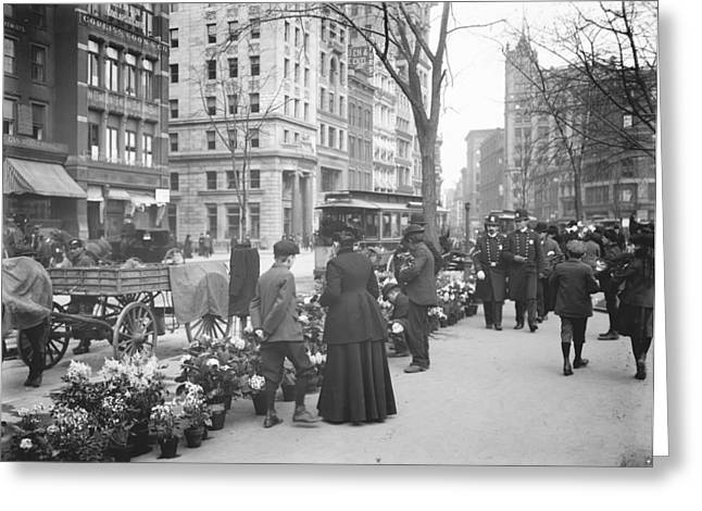 Easter Flower Vendors In New York City Greeting Card by Padre Art