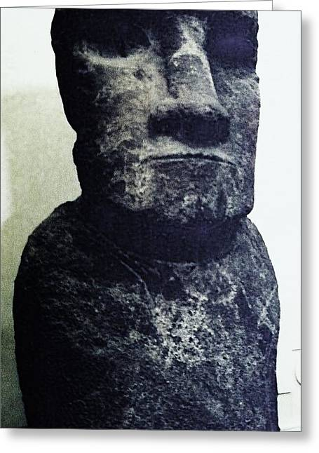Greeting Card featuring the painting Easter Island Stone Statue by Eric  Schiabor