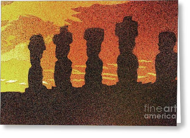 Easter Island Sunset II Greeting Card by Ryan Fox