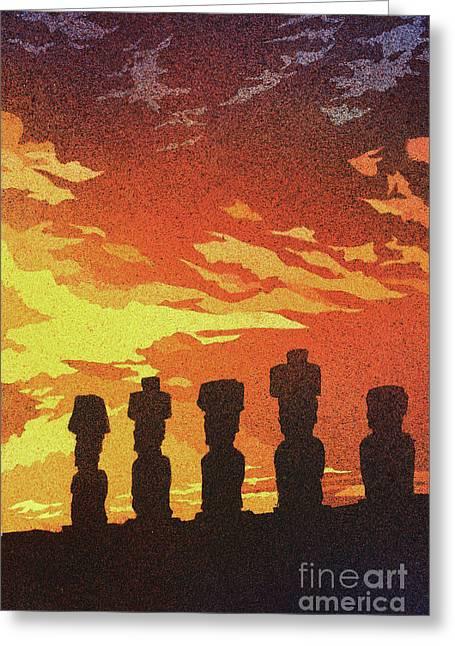 Easter Island Sunset Greeting Card by Ryan Fox
