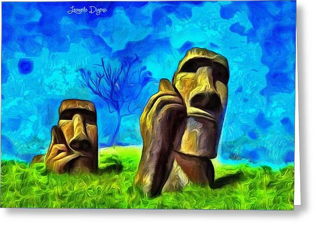 Easter Island - Van Gogh Style - Da Greeting Card