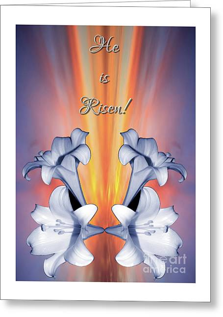 Easter Lilies Sunrise He Is Risen Greeting Card by Rose Santuci-Sofranko