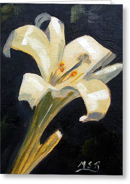 Easter Lilly Greeting Card by Maria Soto Robbins