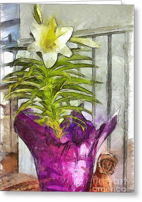Easter Lily And Doll Greeting Card by Claire Bull
