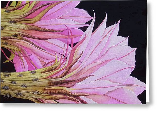 Easter Lily Cactus Flower Greeting Card by Carol Sabo