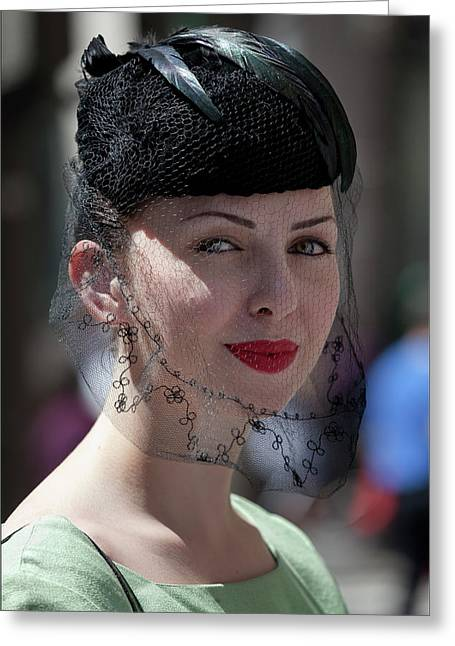 Easter Greeting Cards - Easter Parade 2011 Hat and Veil Greeting Card by Robert Ullmann