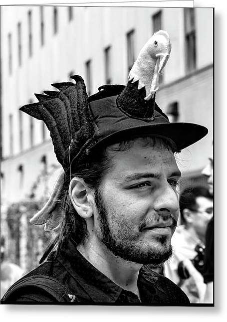 Easter Parade Nyc 2017 Man With Bird On Hat Greeting Card