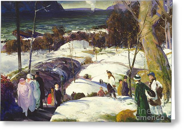 Easter Snow Greeting Card by George Wesley Bellows