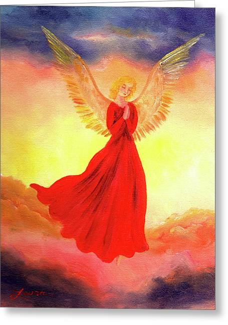 Catholic Angel Greeting Cards - Easter Sunset Angel Greeting Card by Laura Iverson