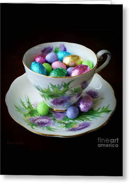 Easter Teacup Greeting Card by Robert ONeil