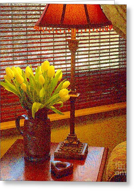 Easter Tulips Still Life - Paintograph Greeting Card by Christine S Zipps
