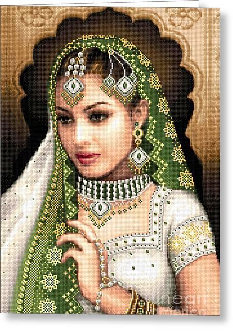 Eastern Beauty In Green Greeting Card by Stoyanka Ivanova
