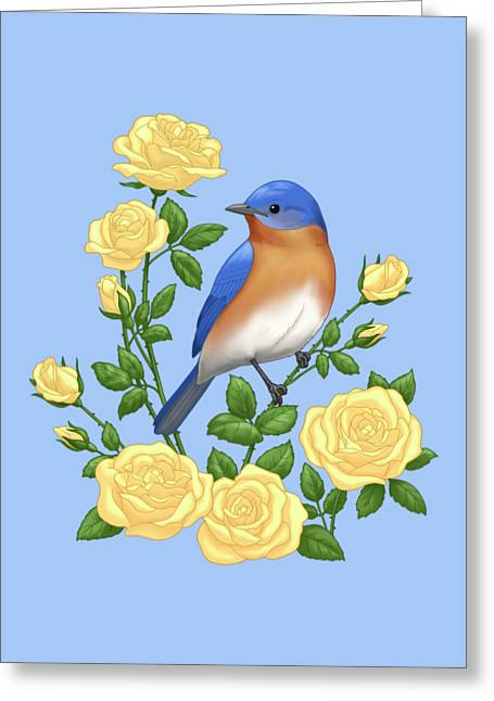 Eastern Bluebird And Yellow Roses Greeting Card