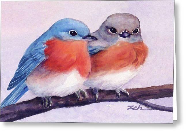 Eastern Bluebirds Greeting Card