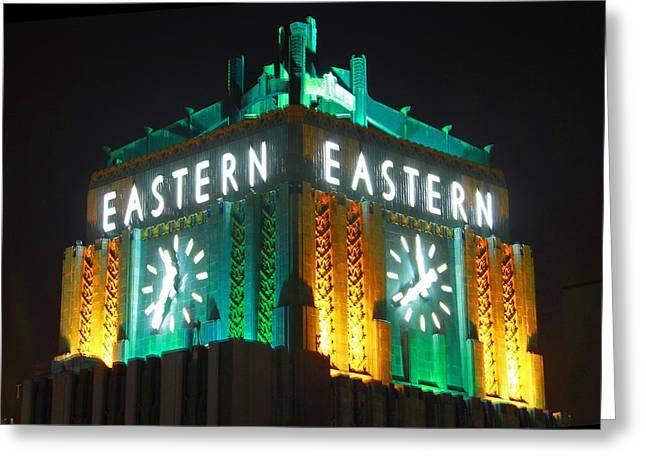 Eastern Columbia Clock Greeting Card