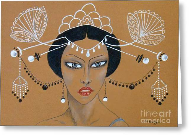 Eastern Elegance -- Whimsical Asian Woman Greeting Card