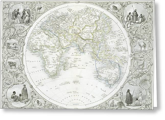 Border Drawings Greeting Cards - Eastern Hemisphere Greeting Card by John Rapkin