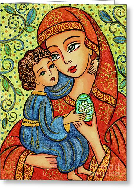 Greeting Card featuring the painting Easter Madonna by Eva Campbell