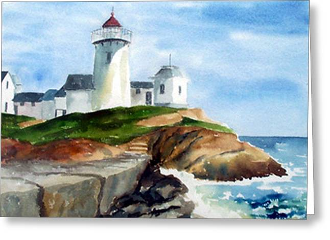 Eastern Point Light Greeting Card by Anne Trotter Hodge