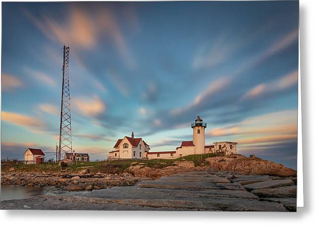 Eastern Point Lighthouse At Sunset Greeting Card