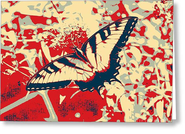 Eastern Tiger Swallowtail Butterfly - Red Abstract Greeting Card by Scott D Van Osdol