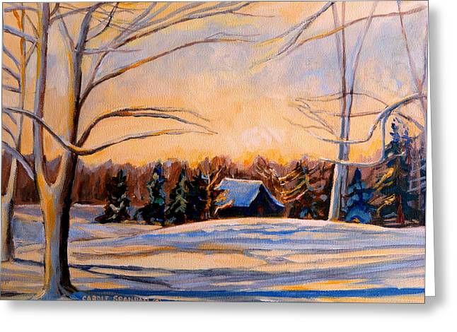 Eastern Townships In Winter Greeting Card by Carole Spandau