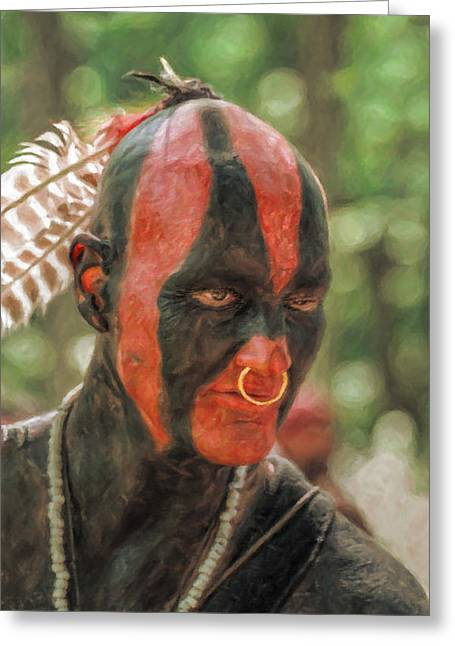 Eastern Woodland Indian Portrait Greeting Card by Randy Steele