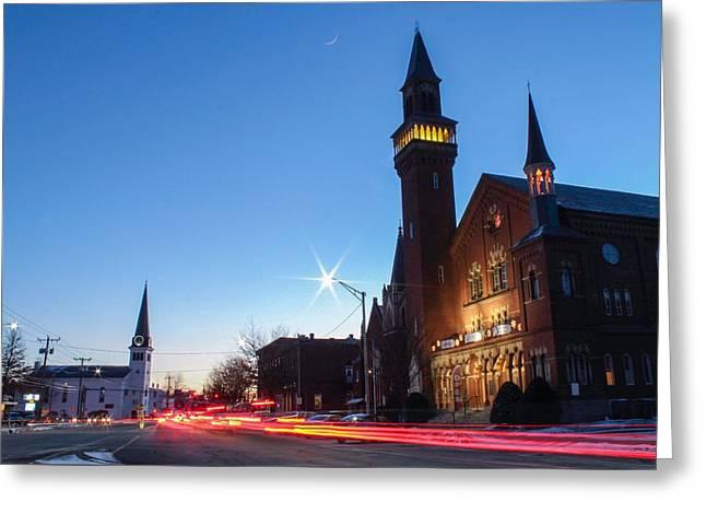 Greeting Card featuring the photograph Easthampton Crescent Moon by Sven Kielhorn