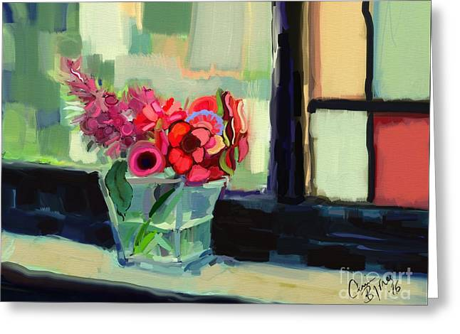 Easy Day By The Window Greeting Card by Carrie Joy Byrnes