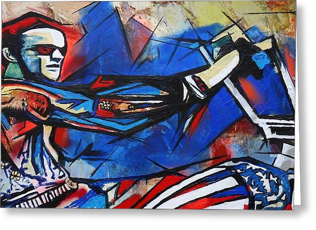 Greeting Card featuring the painting Easy Rider Captain America by Eric Dee