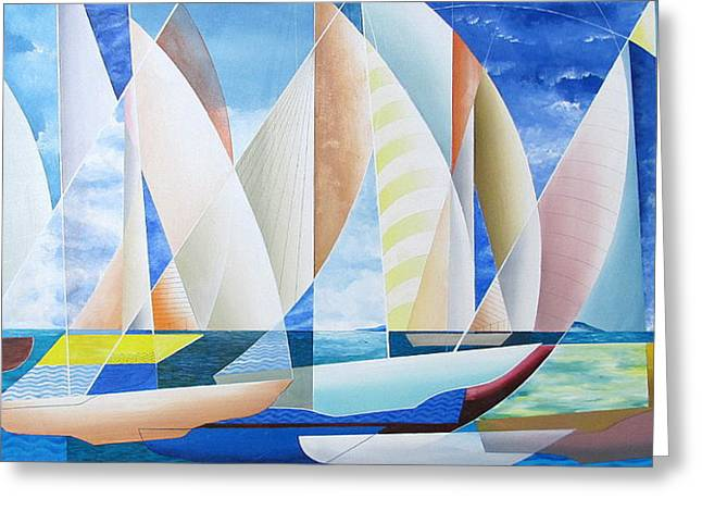 Greeting Card featuring the painting Easy Sailing by Douglas Pike