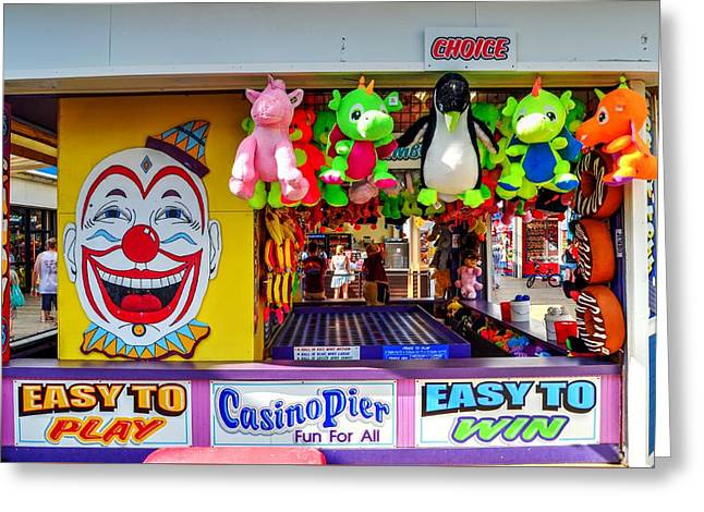 Easy To Win, Seaside Heights Boardwalk Game Greeting Card by Bob Cuthbert