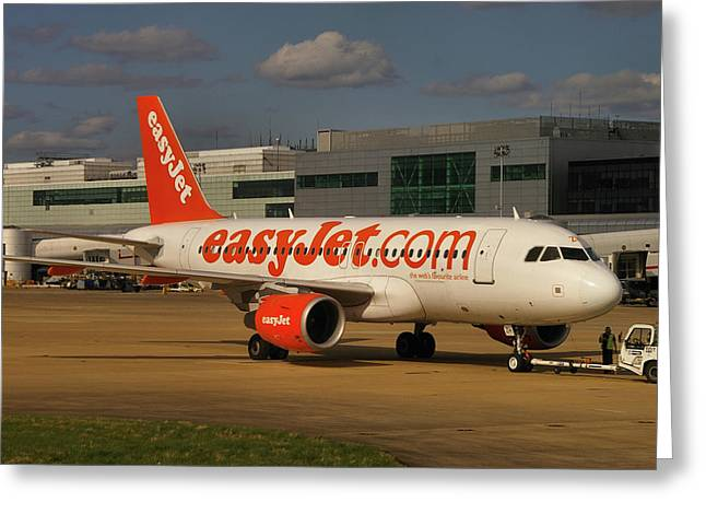 Greeting Card featuring the photograph Easyjet Airbus A319-111  by Tim Beach