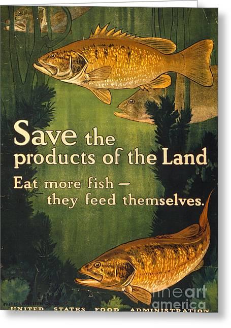 Eat More Fish Vintage World War I Poster Greeting Card by John Stephens