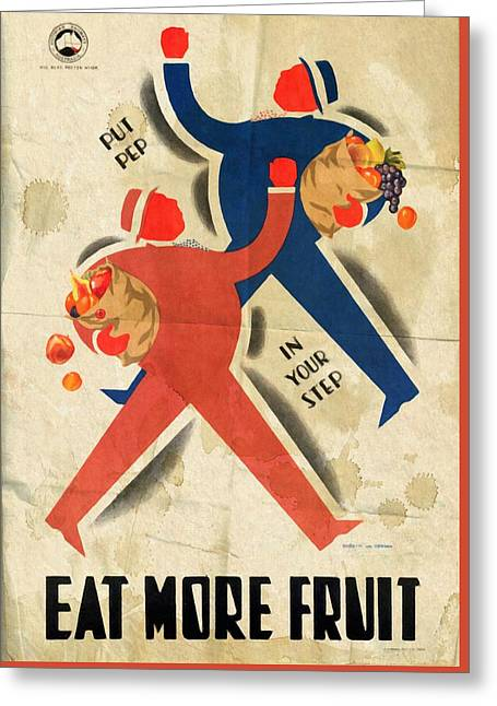 Eat More Fruit - Vintage Poster Folded Greeting Card