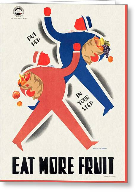 Eat More Fruit - Vintage Poster Restored Greeting Card