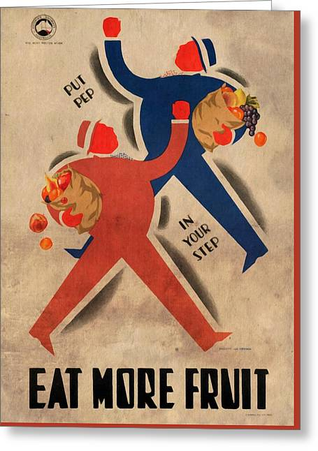 Eat More Fruit - Vintage Poster Vintagelized Greeting Card