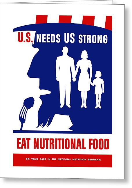 Healthy Greeting Cards - Uncle Sam - Eat Nutritional Food Greeting Card by War Is Hell Store