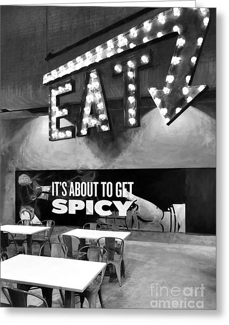 Eat Spicy Food Bw Greeting Card