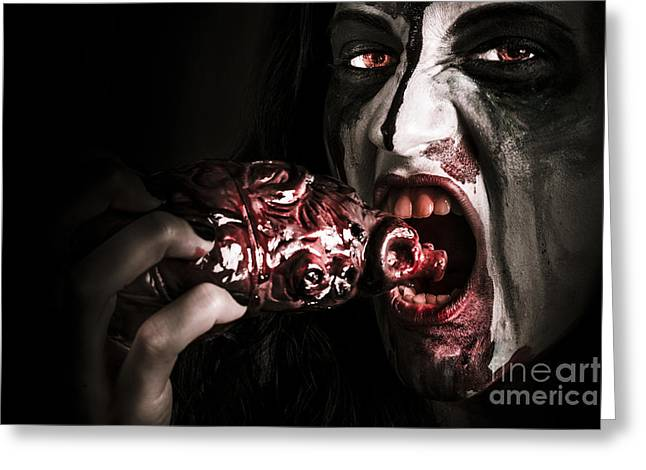 Eat Your Heart Out. Zombie Eating Bloody Heart Greeting Card