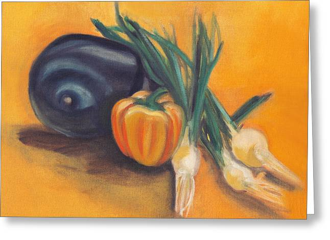 Greeting Card featuring the painting Eat Your Vegetables by Shawna Rowe