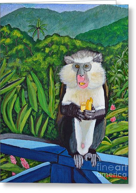 Greeting Card featuring the painting Eating A Banana by Laura Forde