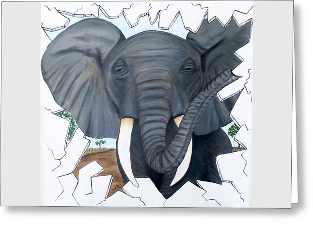 Greeting Card featuring the painting Eavesdropping Elephant by Teresa Wing