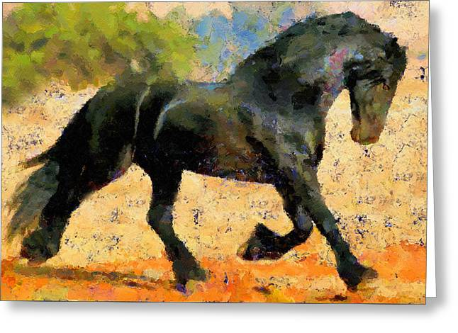 Ebony The Horse - Abstract Expressionism Greeting Card