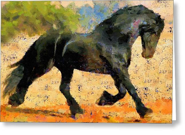 Ebony The Horse - Abstract Expressionism Greeting Card by Georgiana Romanovna