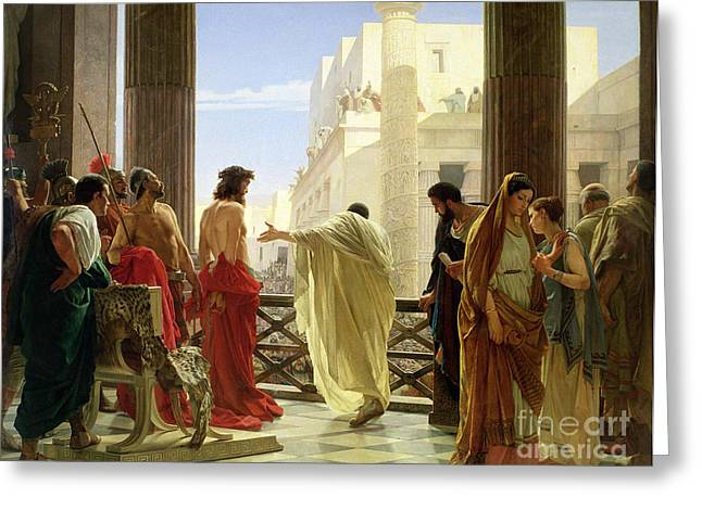 Jesus Thorns Greeting Cards - Ecce Homo Greeting Card by Antonio Ciseri