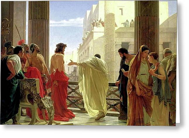 Christ Before Pilate Greeting Cards - Ecce Homo Greeting Card by Antonio Ciseri