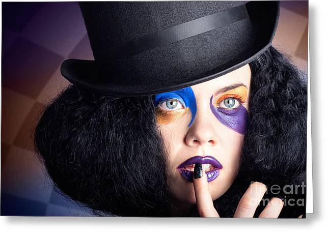 Eccentric Mad Fashion Hatter In Colourful Makeup Greeting Card by Jorgo Photography - Wall Art Gallery